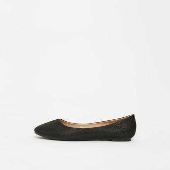 حذاء باليرينا بمقدمة مستديرة سهل الارتداء بزينة جليتر