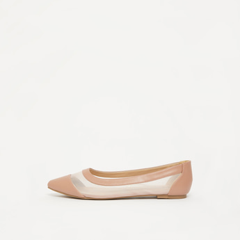 حذاء باليرينا سادة بتفاصيل شبكيّة