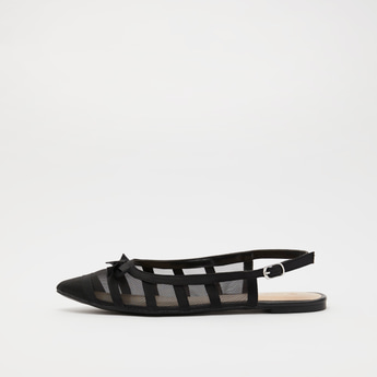 Textured Mule Sandals with Buckle Closure and Bow Detail