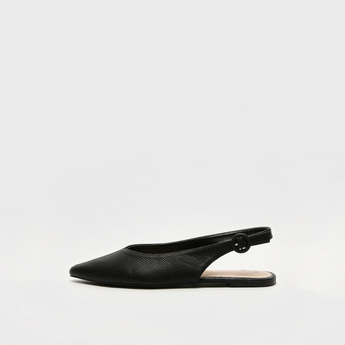 Textured Pointed Toe Slip-On Shoes with Buckle Closure