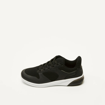 Textured Sneakers with Lace-Up Closure