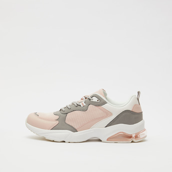 Textured Sneakers with Lace-Up Closure and Pull Tabs