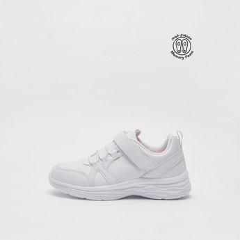 Solid Sports Shoes with Hook and Loop Closure
