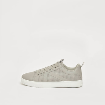 Textured Sneakers with Pull Tab and Lace-Up Closure