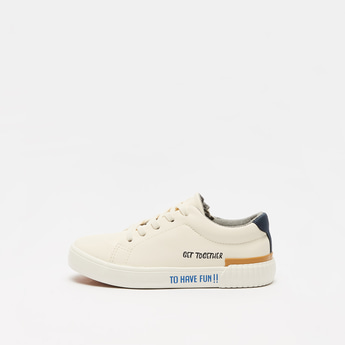 Slogan Print Sneakers with Zip Closure