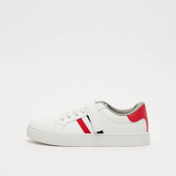 Stripe Detail Sneakers with Hook and Loop Closure