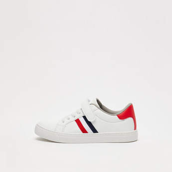 Striped Sneakers with Hook and Loop Closure