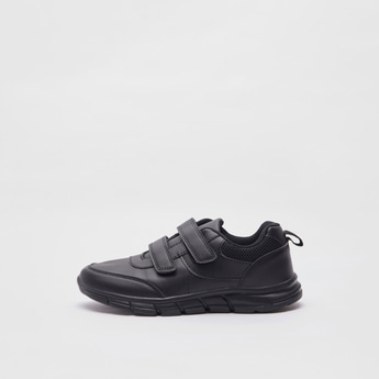 Solid School Sports Shoes with Hook and Loop Closure