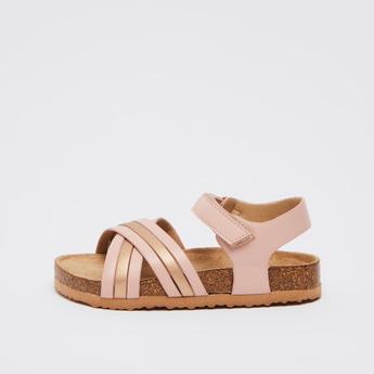 Metallic Detail Sandals with Hook and Loop Closure