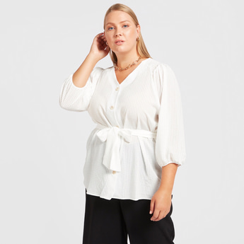 Checked V-Neck Top with 3/4 Sleeves and Tie-Ups