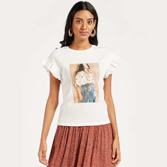 Graphic Print Top with Applique Detail and Cap Sleeves