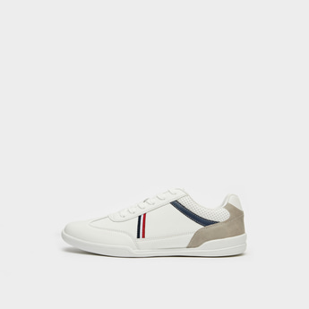 Solid Lace-Up Sneakers with Stripe Detail