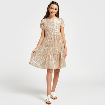 Sequin Detail Dress with Round Neck and Short Sleeves