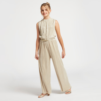 Textured Sleeveless Jumpsuit with High Neck and Belt