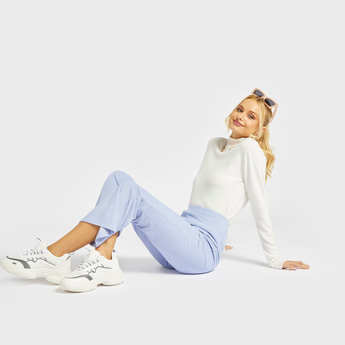 Ribbed Flare Pants with Elasticised Waistband