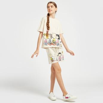 Snoopy Graphic Print Short Sleeves T-shirt and Shorts Set