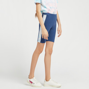 Solid Cycling Shorts with Tie-Dyed Panel and Elasticised Waistband