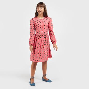Heart Print Knee-Length Dress with Long Sleeves