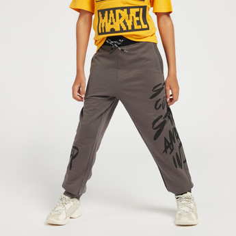 Side Print Joggers with Elasticated Drawstring Waist and Pockets