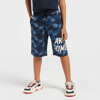 Printed Knee Length Shorts with Drawstring Closure and Pockets