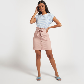 Textured Mini Skirt with Paperbag Waist