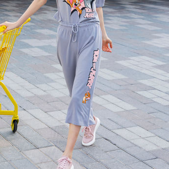 Tom and Jerry Graphic Print Culottes with Drawstring Closure
