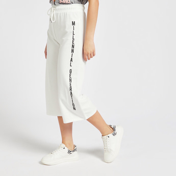 Text Print Culottes with Elasticised Waist and Drawstring Closure