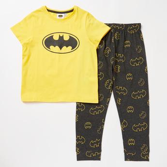 Batman Print Round Neck T-shirt and Full Length Pyjama Set