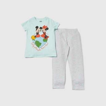 Mickey and Minnie Mouse Printed T-shirt and Pyjama Set