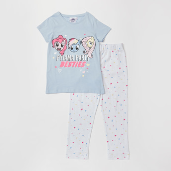 Little Pony Print T-shirt and Full Length Pyjama Set