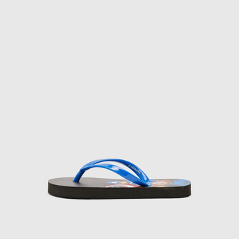 Captain America Print Flip Flops with Textured Straps