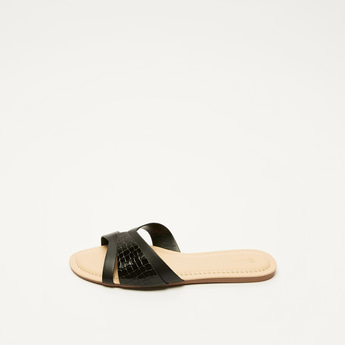 Textured Slip-On Flat Sandals with Cross Straps