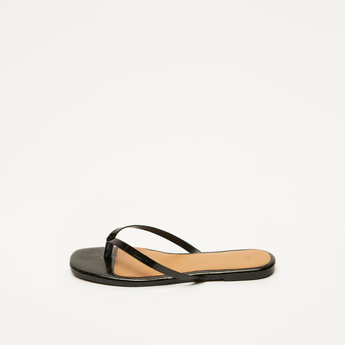 Textured Flat Sandals with Colour Block Footbed