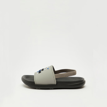 Embossed Print Beach Slides with Elasticised Strap