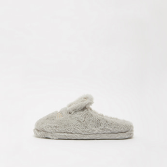 Plush Detail Slip-On Bedroom Slippers