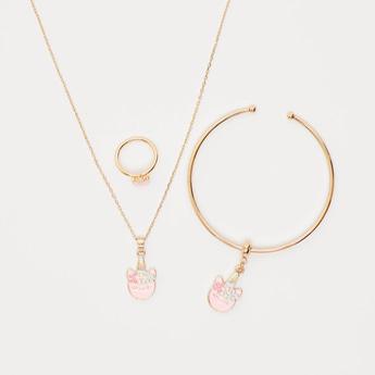 طقم مجوهرات بتفاصيل مزيّنة - 3 قطع