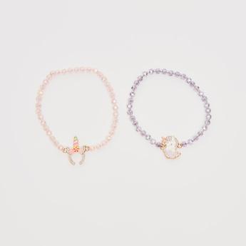 Set of 2 - Beaded Charm Bracelet