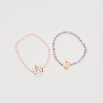 Set of 2 - Beaded Bracelets with Charms
