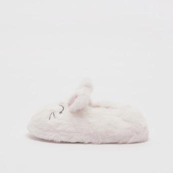 Plush Slip-On Bedroom Slides with Applique Detail