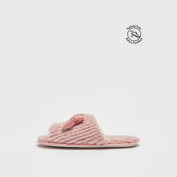 Textured Bedroom Slides with Bow Applique Detail