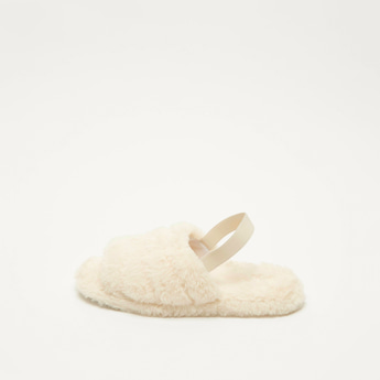 Plush Detail Bedroom Slides with Ankle Strap