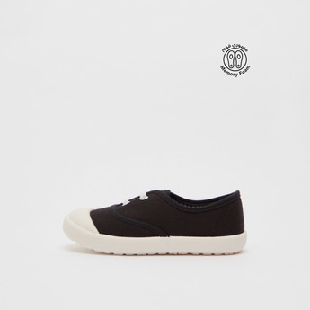 Solid Slip-On Shoes with Lace-Up Detail