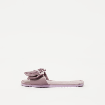 Textured Bedroom Slides with Bow Applique Detail Vamp Band
