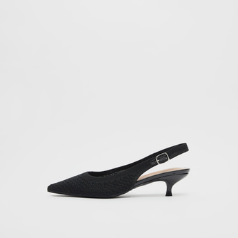 Textured Mules with Kitten Heels and Buckle Closure