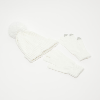 Solid Knitted Gloves and Cap Set