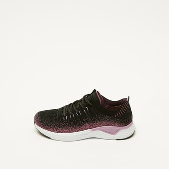 Textured Running Shoes with Pull Tab and Lace-Up Closure