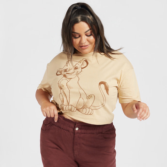 Lion King Print Round Neck Crop Top with Short Sleeves and Knot Detail