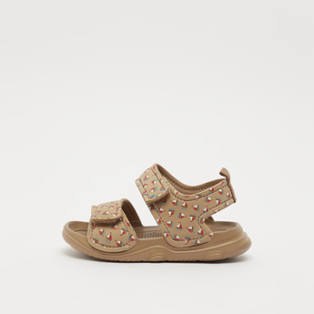 Printed Open-Toe Sandals with Hook and Loop Closure