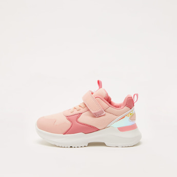Colourblock Sneakers with Hook and Loop Closure