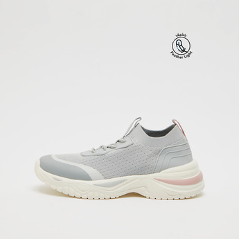 Textured Sports Shoes with Lace-Up Detail and Pull Tab